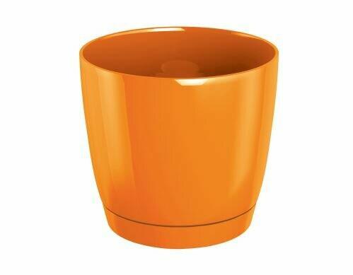 Květináč COUBI ROUND P kulatý s miskou oranžový 21cm