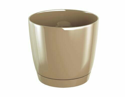 Květináč COUBI ROUND P s miskou káva s mlékem 10cm
