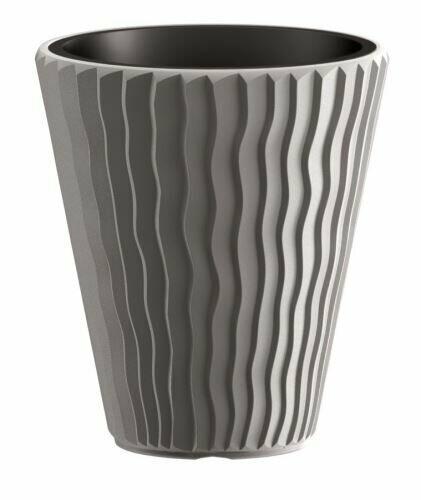 Květináč SANDY + vklad šedý kámen 29,7 cm