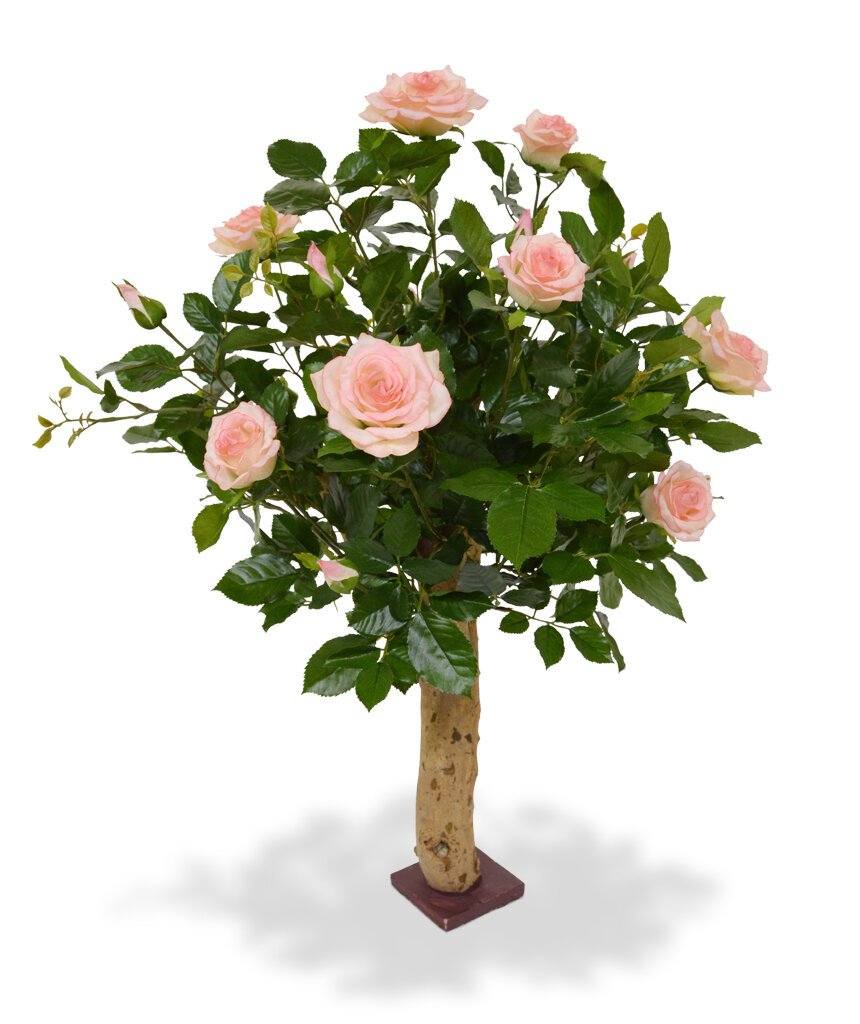 Umělá rostlina Růže 75 cm - růžová