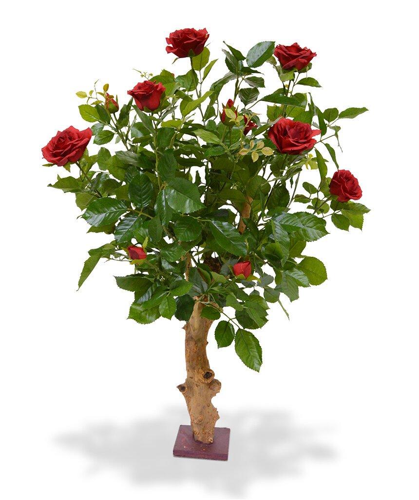 Umělá červená rostlina kvetoucí růže 75 cm