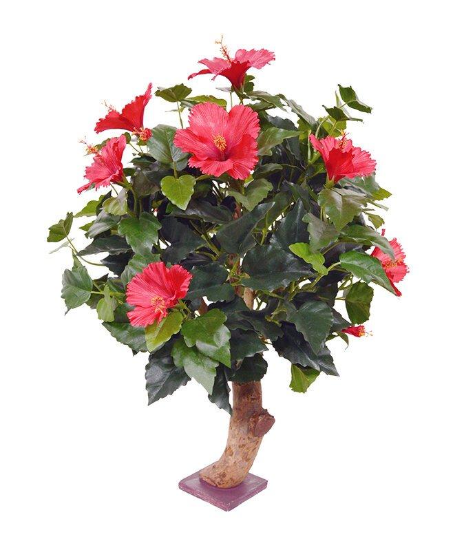 Umělá červená rostlina Ibišek 65 cm