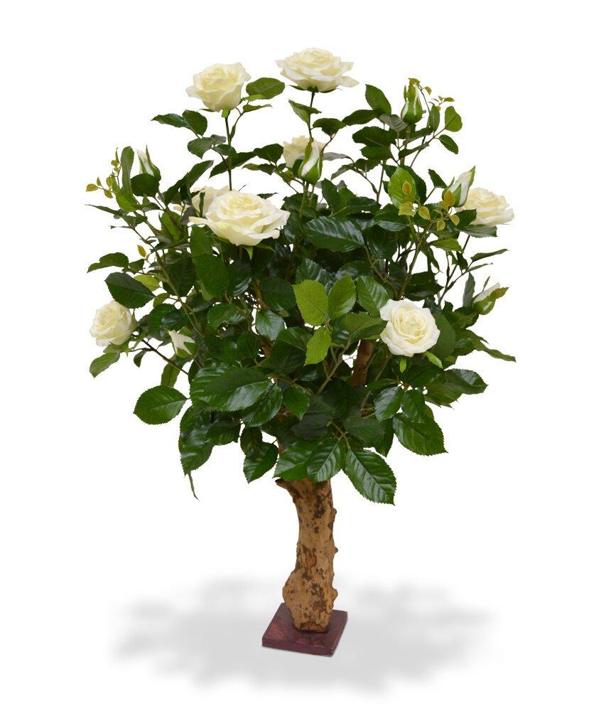 Umělá rostlina Růže 75 cm - krémová