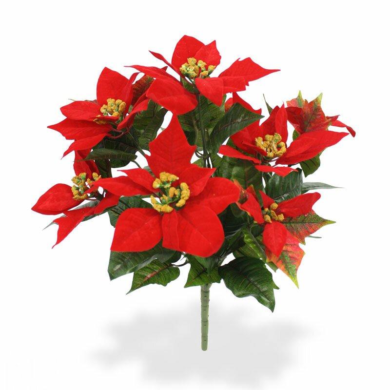 Umělá rostlina Poinsettia 40 cm - červená