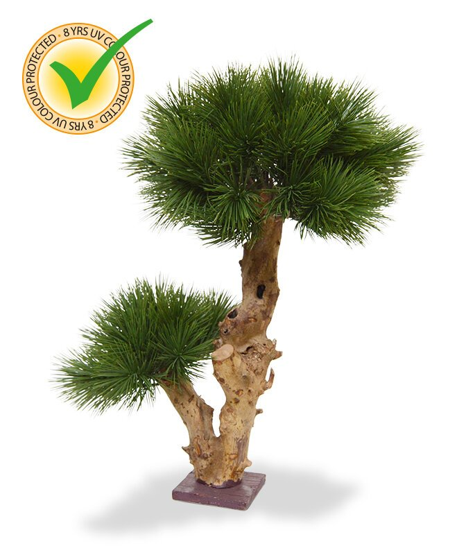 Umelý Bonsai Faux Pine na drevenom podklade - 55 cm
