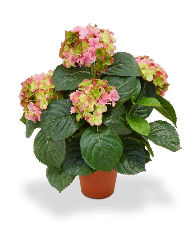 Umelá Hortenzia 45 cm zelenkavo ružová