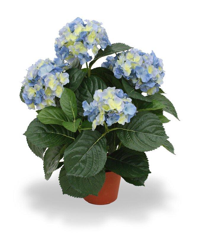 Umělá rostlina Hortenzia Deluxe 45 cm - modrá