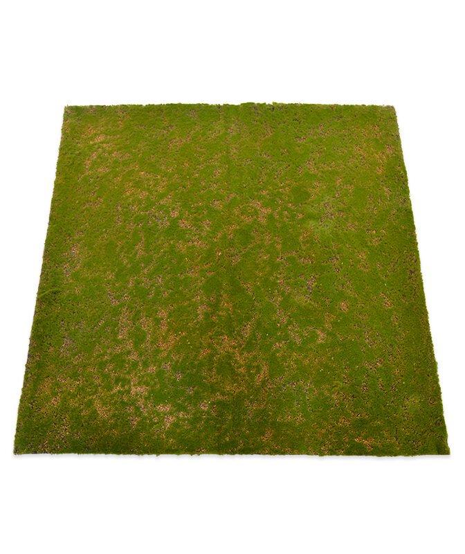 Umělá mechová rohožka 100 x 100 cm - zelená