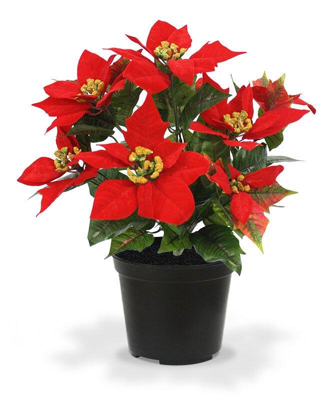 Umělá červená vánoční růže 40 cm