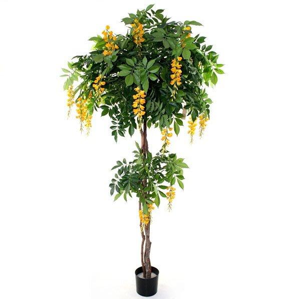 Umělý strom kvetoucí Vistárie 185 cm - žlutá
