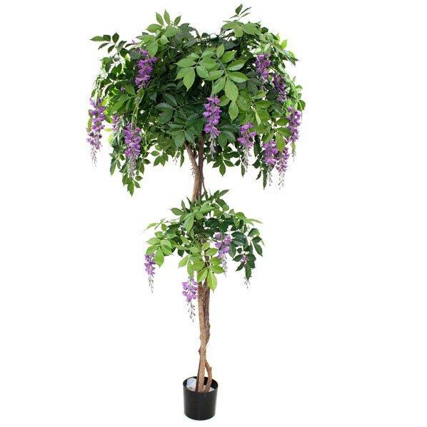 Umělý strom kvetoucí Wisteria Deluxe 185 cm - fialová
