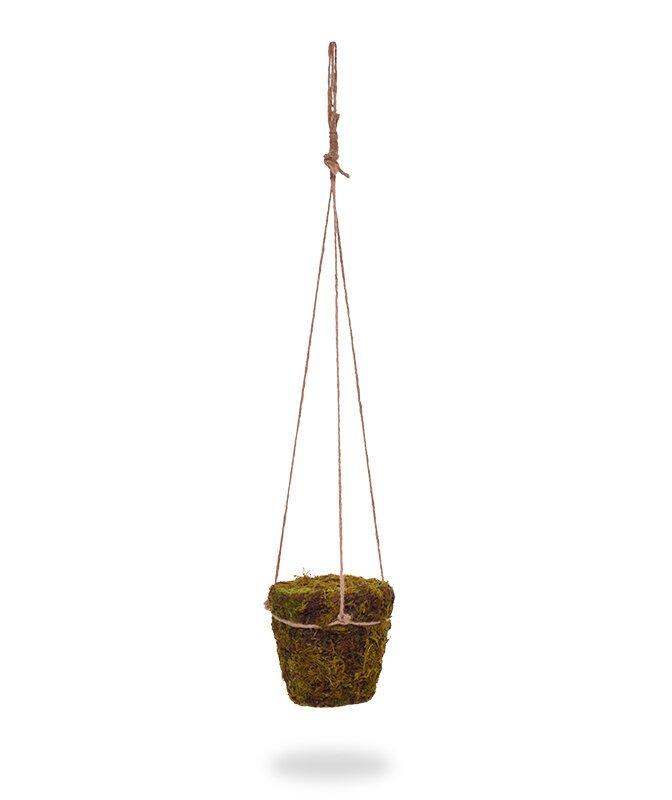 Mechový květináč s jutovým věšením 70 cm