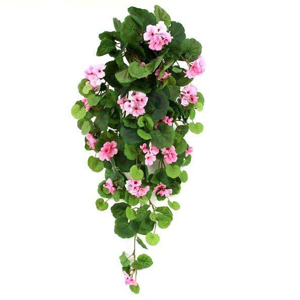 Umělá závěsná Pelargónie 90 cm - růžová