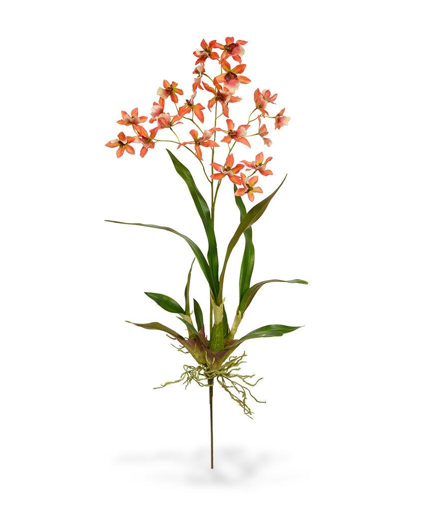 Umelá Orchidea Macara 80 cm - oranžová