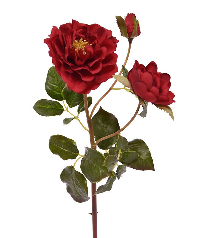 Umelá vetva Ruža Ruffle 50 cm - červená