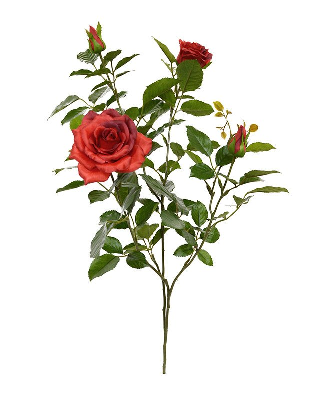 Umělá větev Růže Deluxe 70 cm - červená
