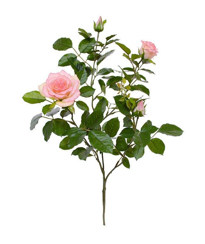 Umělá větev Růže Deluxe 70 cm - růžová