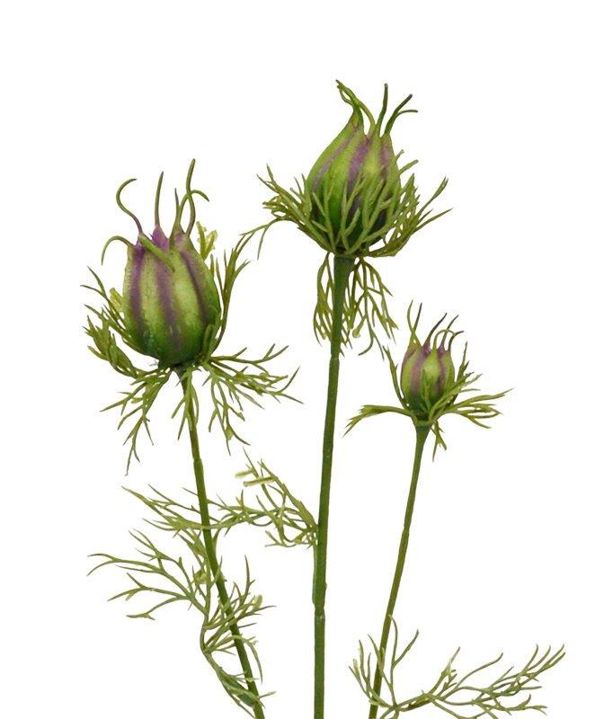 Umělá větev Nigella 55 cm zeleno fialová