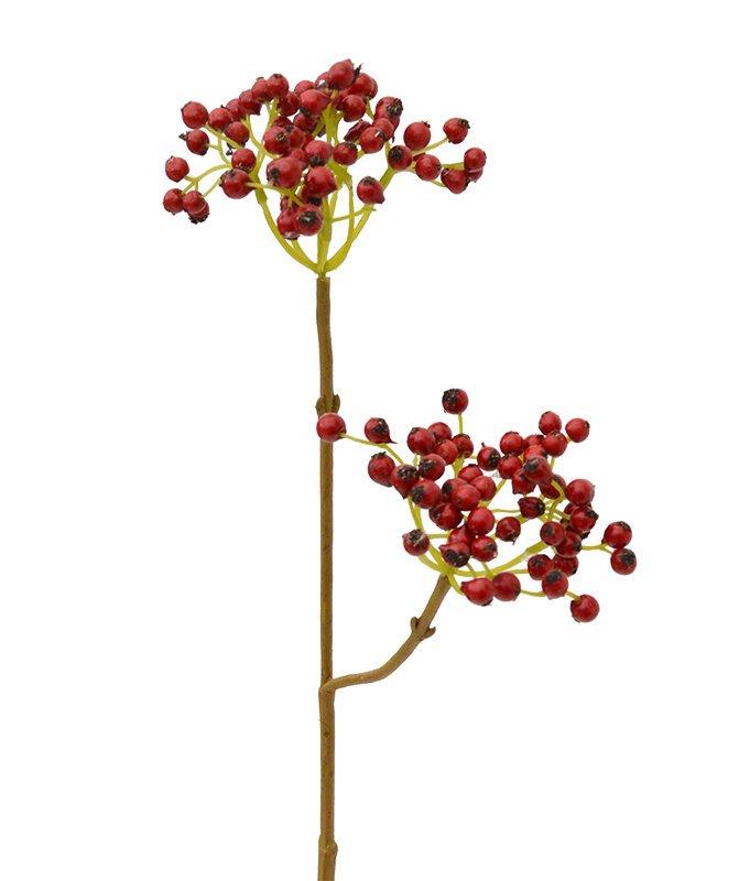 Umělá větev Berry Deluxe 50 cm - červená