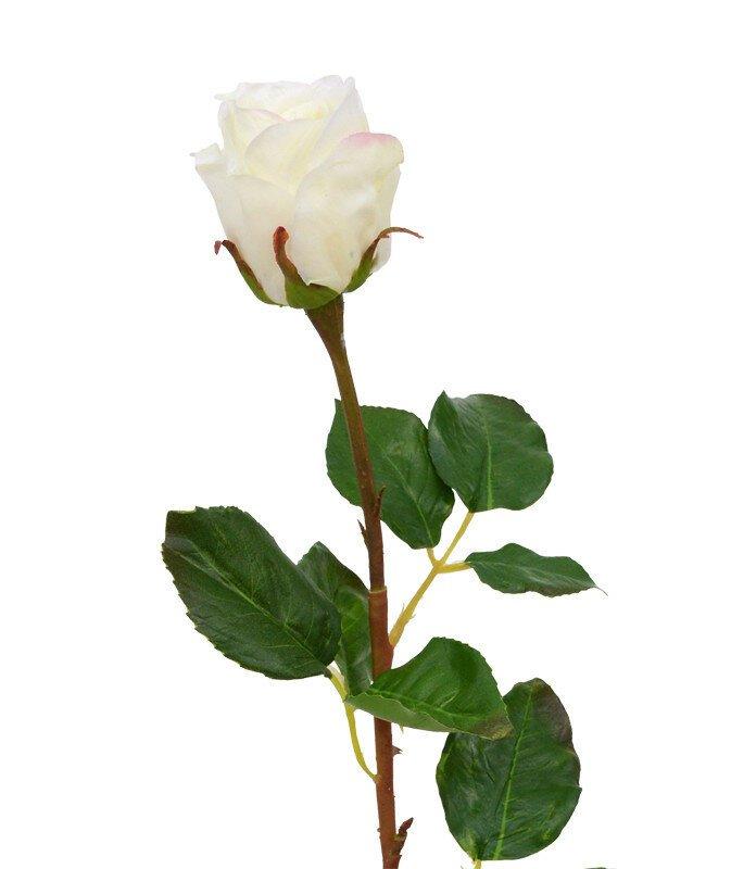 Umelá vetva Ruža 52 cm - biela