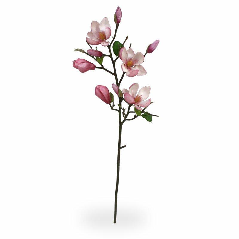 Umělá větev Magnólia 80 cm růžová
