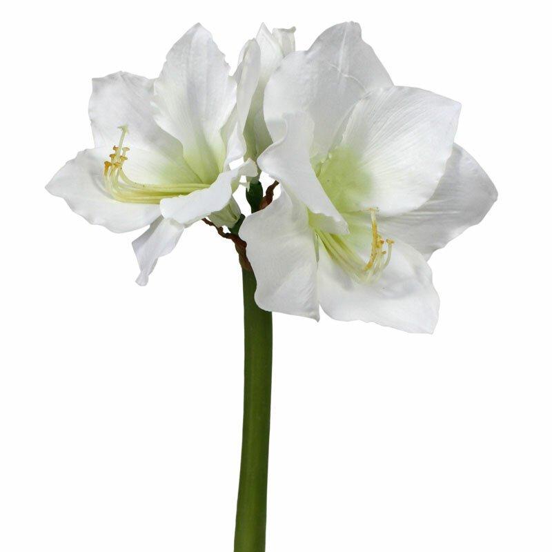 Umělá květina Amaryllis 55 cm bílá