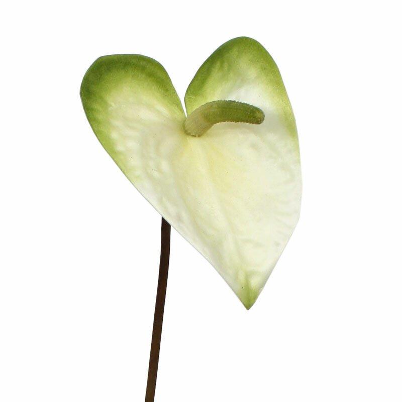 Umelá vetva Anthurium s kvetom 55 cm - bielo zelená