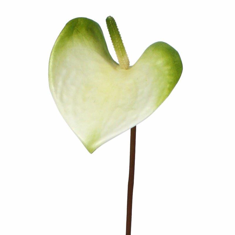 Umělá květina anturium 50 cm bílo-zelená