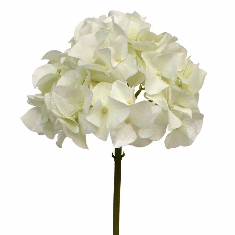Umělá větev Hortenzie bílá 50 cm