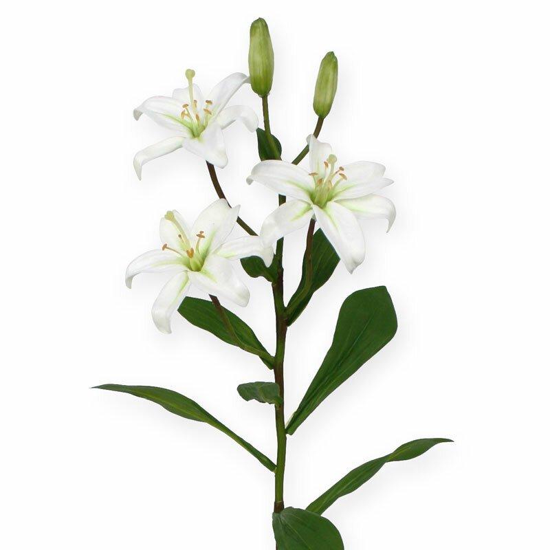 Umělá větev mini Lilie 50 cm - bílá