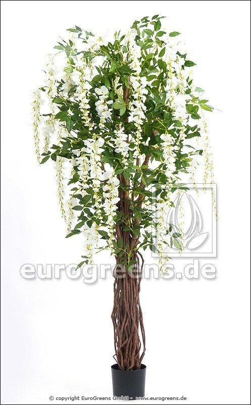 Umělá kvetoucí rostlina Vistárie bílá 180 cm