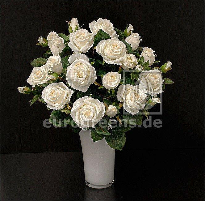 Umělá kytice růží krémová 50 cm