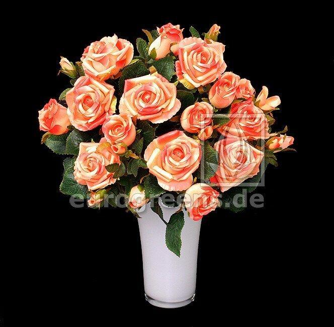 Umelá kytica ruží ružovo-marhuľová 50 cm