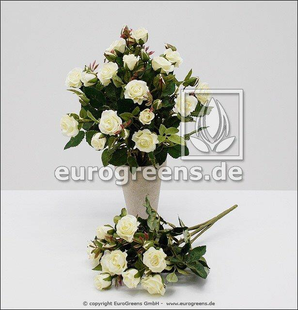 Umělý keř růží bílé barvy - 25 cm