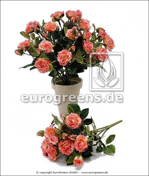 Umělý keř růží růžové barvy - 25 cm