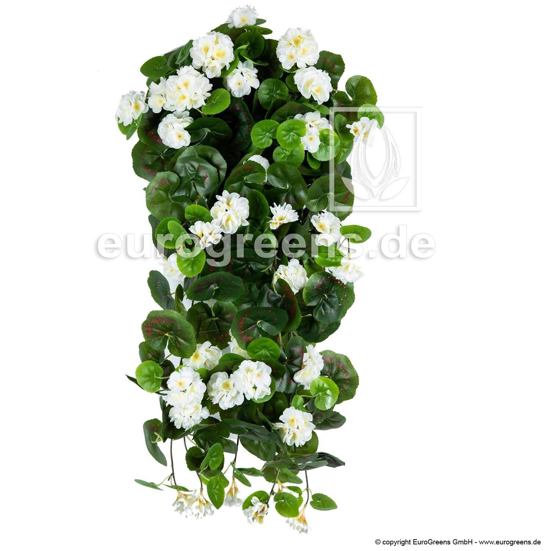 Umelý kvet na zavesenie - biela pelargónia 70cm