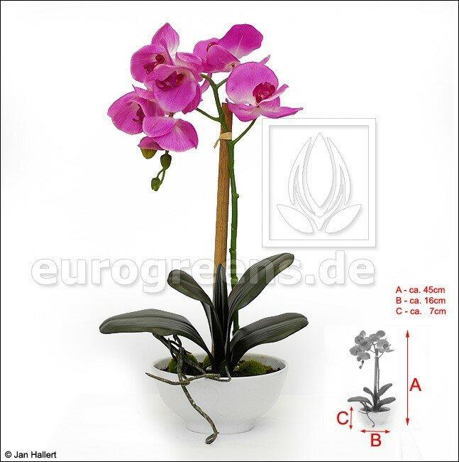 Umělá Orchidej fialová v keramické misce 45 cm