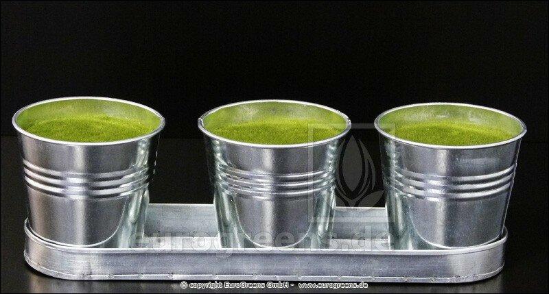Sada zinkových květináčů - hmota pokrytá mechem