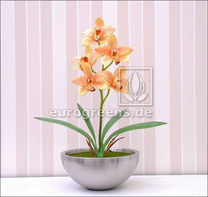 Umělá rostlina Orchidea Cymbidium oranžová 50 cm