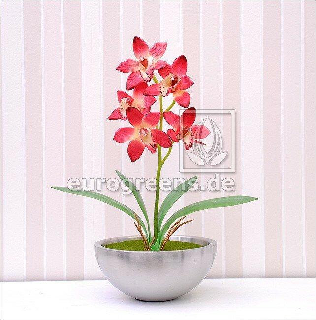 Umělá rostlina Orchidea Cymbidium vínově červená 50 cm