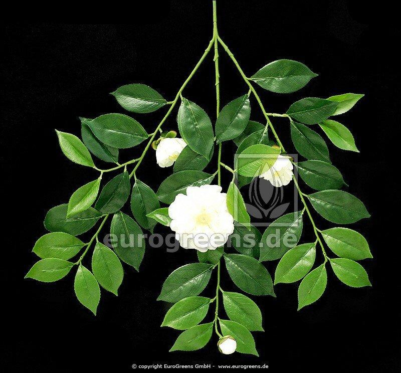 Umělá větev Gardénie s květinami a pupeny