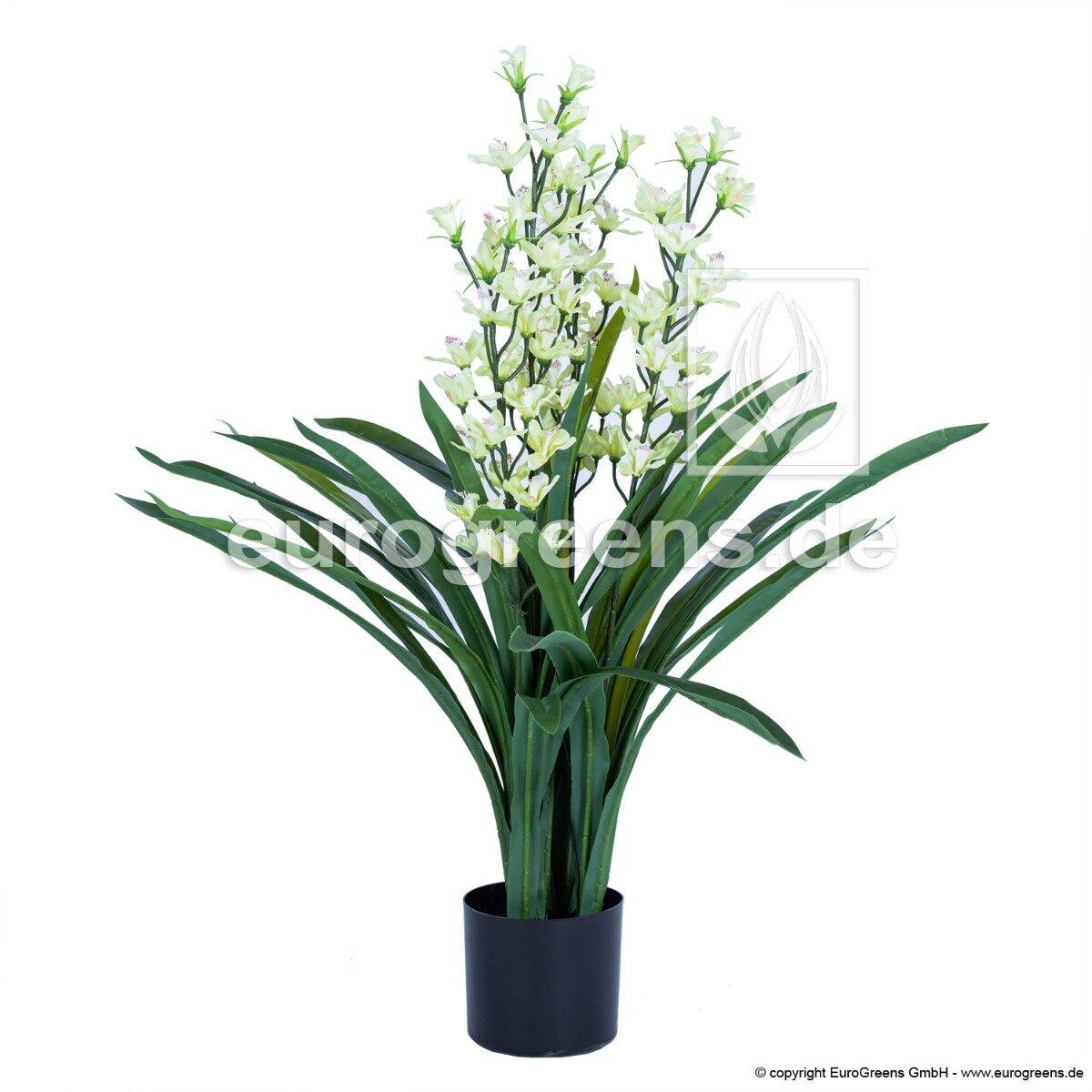 Umelá rastlina Orchidea Cymbidium biela 95 cm