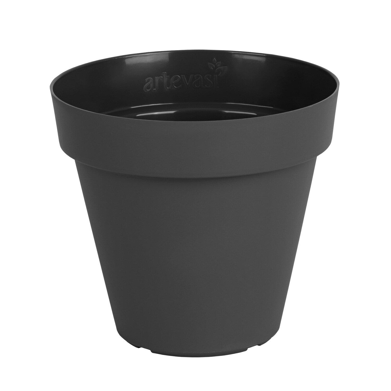 Plastový čierny kvetináč Capri matný 30cm priemer