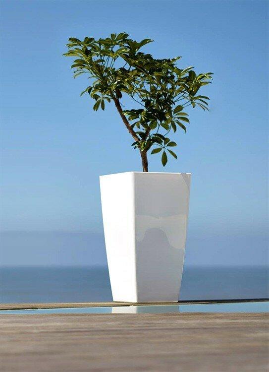 Umelý plastový kvetináč s vysokým leskom - biely 61x33 cm