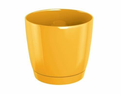 Květináč COUBI ROUND P s miskou žlutý 15,5cm