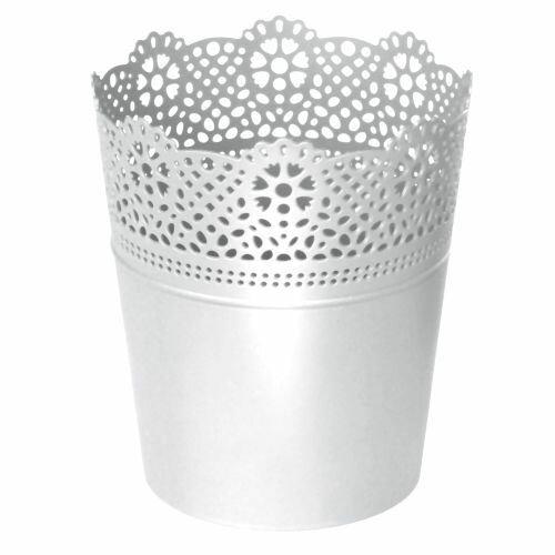 Květináč s krajkou LACE bílý 16,0 cm