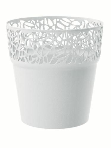 Květináč s krajkou NATURO bílý 14,5 cm