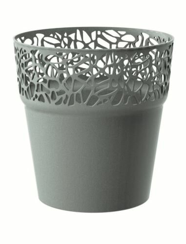 Květináč s krajkou NATURO šedý kámen 14,5 cm