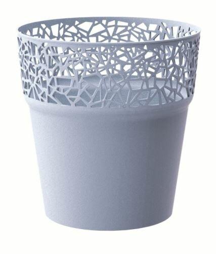 Květináč s krajkou TREE ledově šedý 14,5 cm