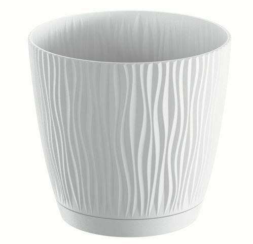 Květináč s miskou SANDY P bílý 28,2 cm